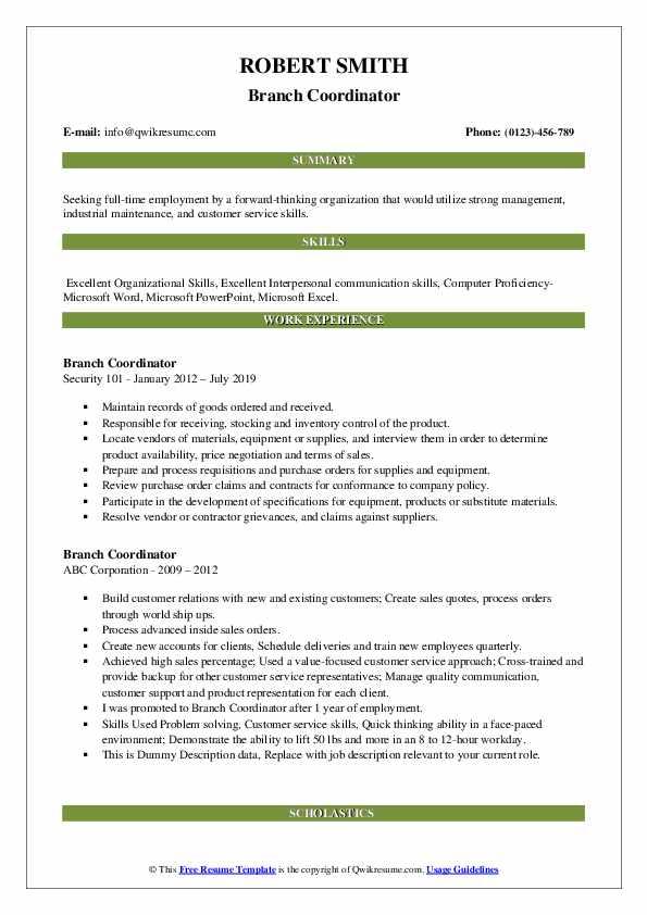 Branch Coordinator Resume example