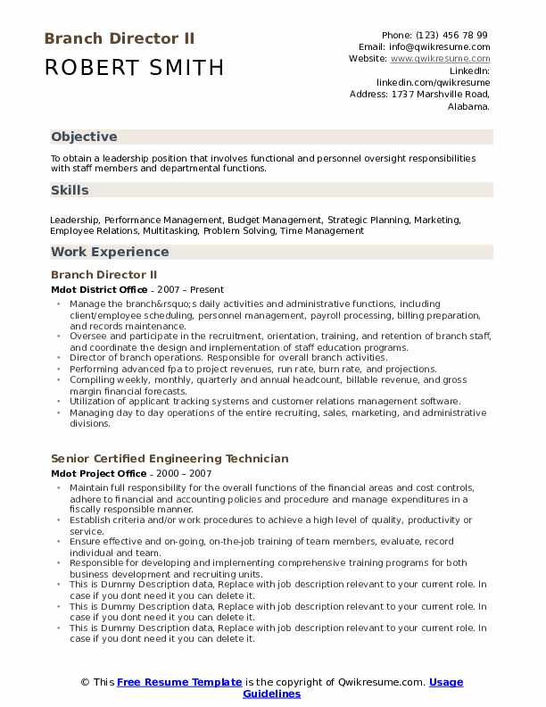 Branch Director II Resume Model