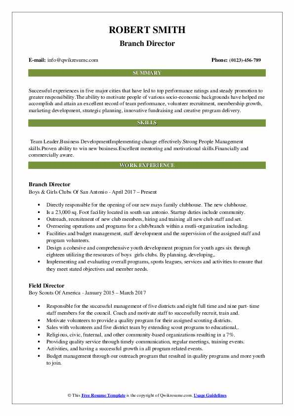 Branch Director Resume Example