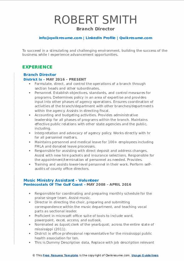 Branch Director Resume Template