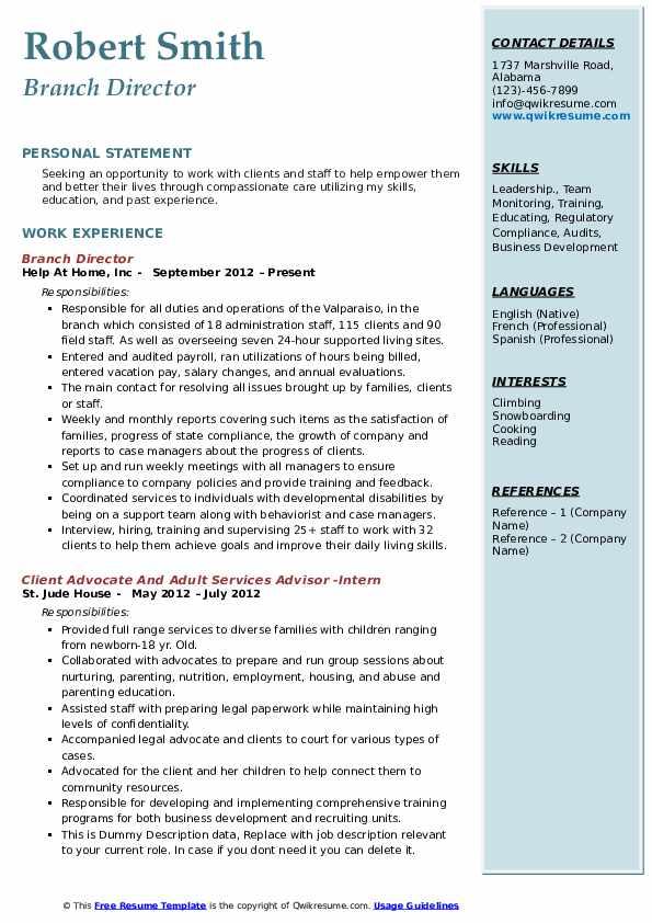 Branch Director Resume Format