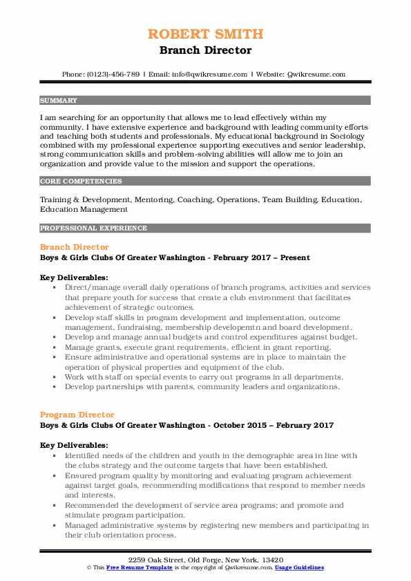 Branch Director Resume Model