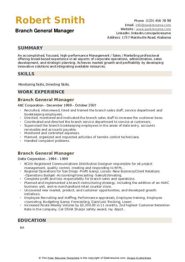 Branch General Manager Resume example
