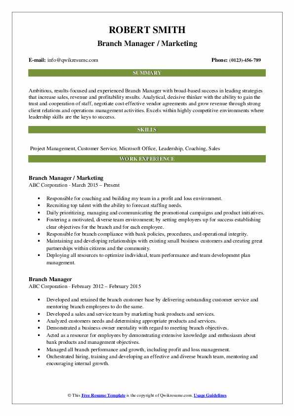 Branch Manager / Marketing Resume Template