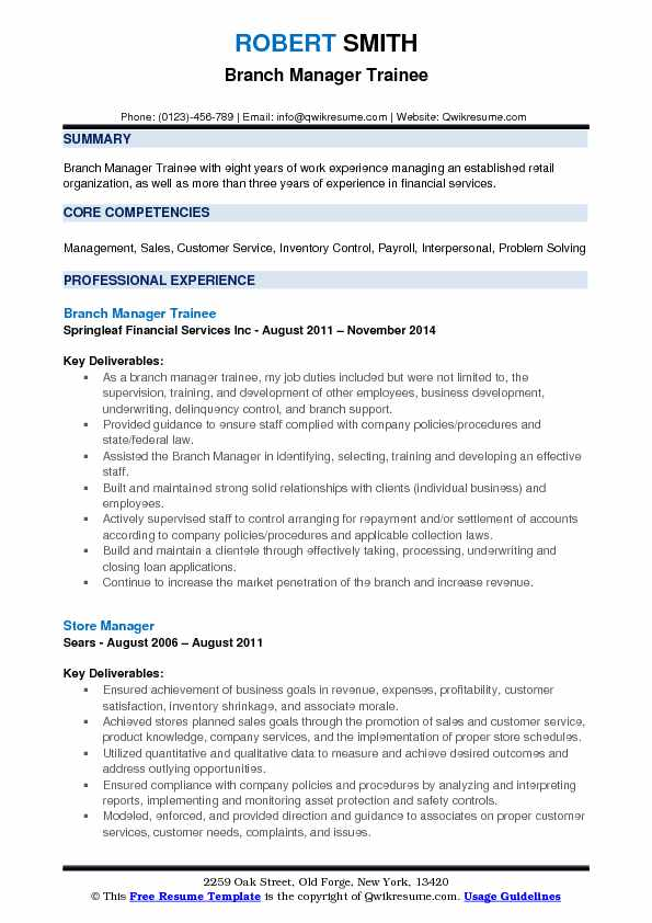 Branch Manager Trainee Resume Format