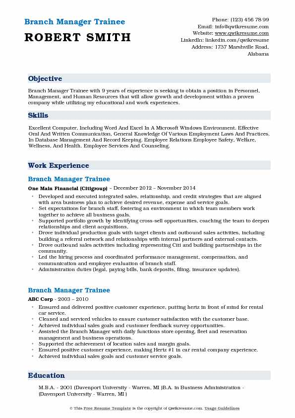 Branch Manager Trainee Resume Model