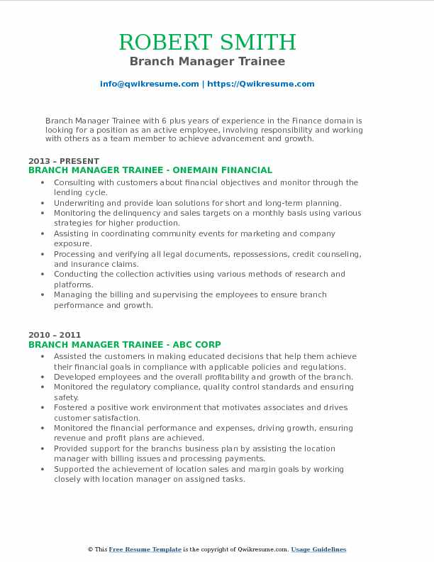 Branch Manager Trainee Resume Sample