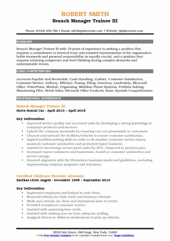 Branch Manager Trainee III Resume Example