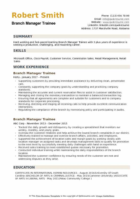 Branch Manager Trainee Resume example