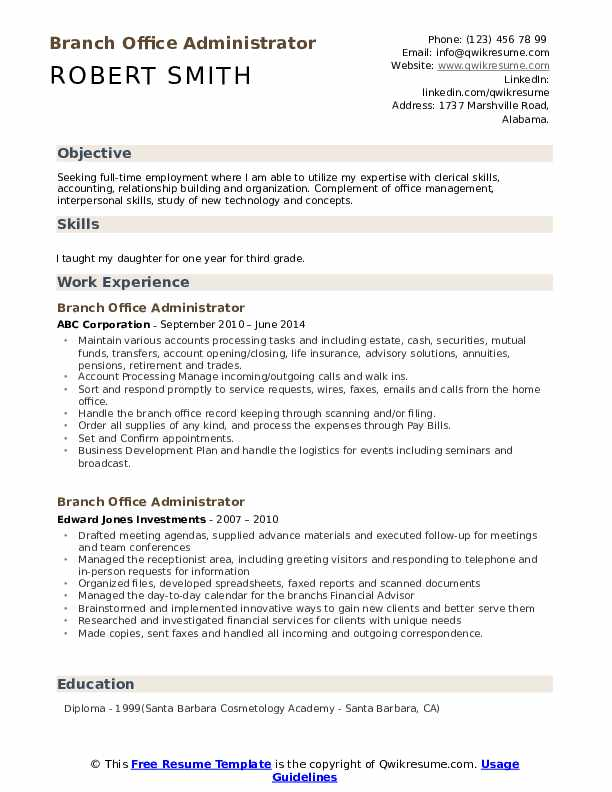 Branch Office Administrator Resume Sample