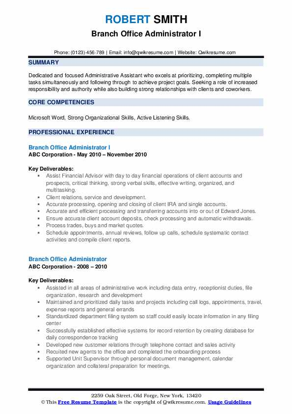 Branch Office Administrator I Resume Template