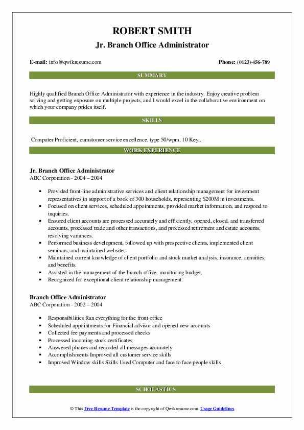 Jr. Branch Office Administrator Resume Template