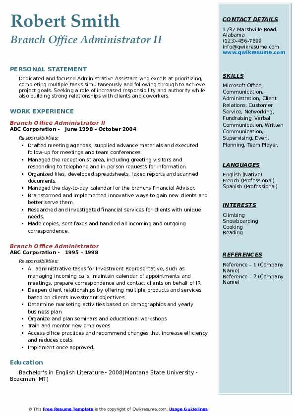 Branch Office Administrator II Resume Template