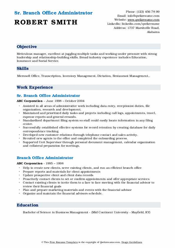 Sr. Branch Office Administrator Resume Template