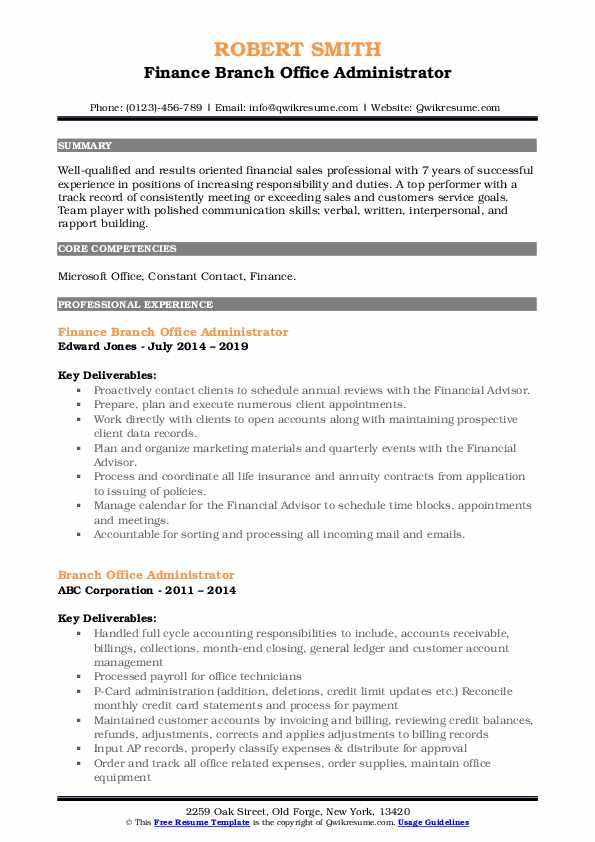 Finance Branch Office Administrator Resume Format