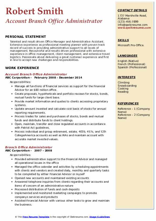 Account Branch Office Administrator  Resume Model