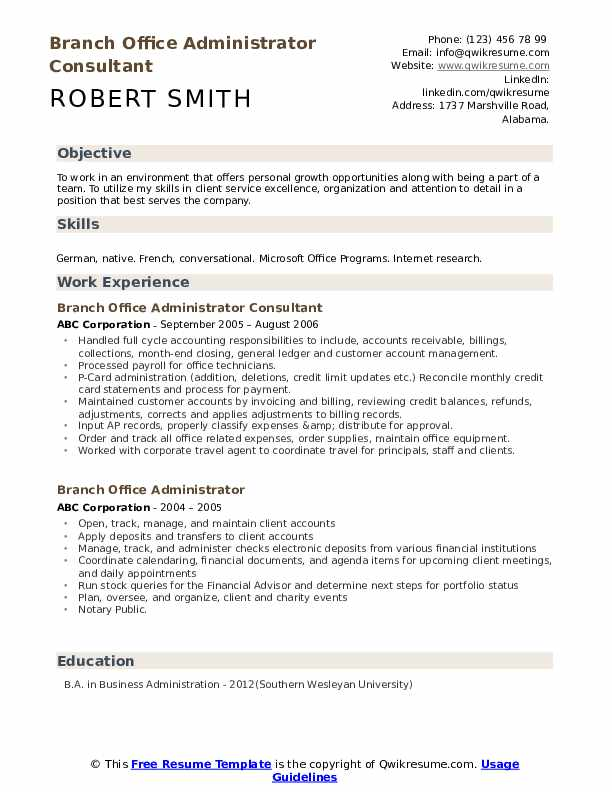 Branch Office Administrator Consultant Resume Template