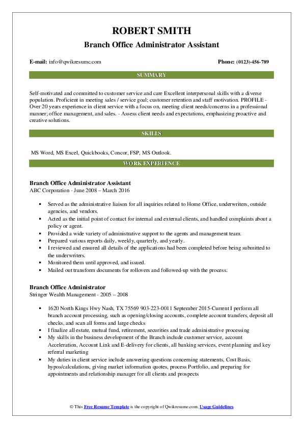 Branch Office Administrator Assistant Resume Model