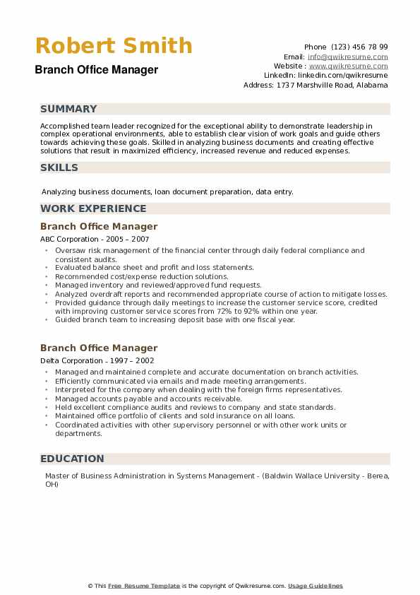 Branch Office Manager Resume example