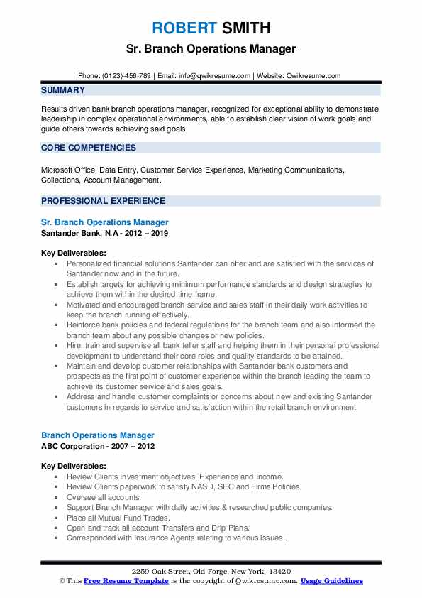 Sr. Branch Operations Manager Resume Model