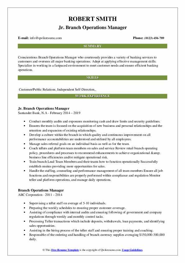 Jr. Branch Operations Manager Resume Example
