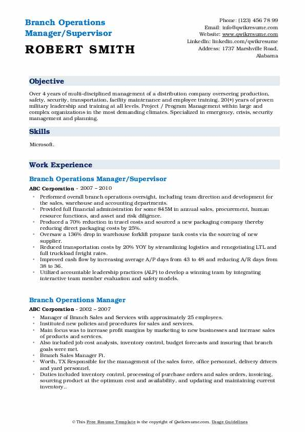 Branch Operations Manager/Supervisor Resume Format