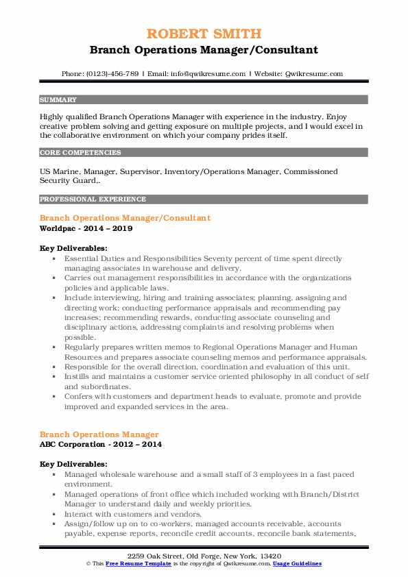 Branch Operations Manager/Consultant Resume Format