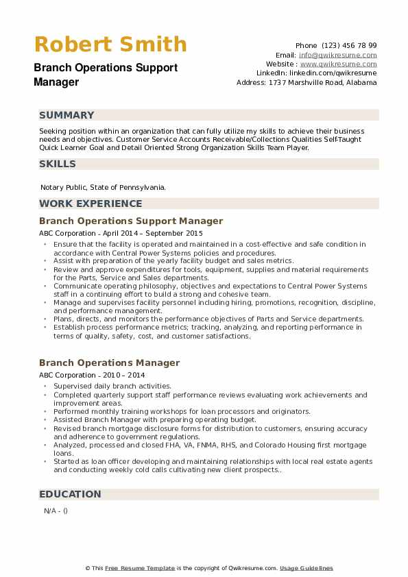 Branch Operations Support Manager Resume Example