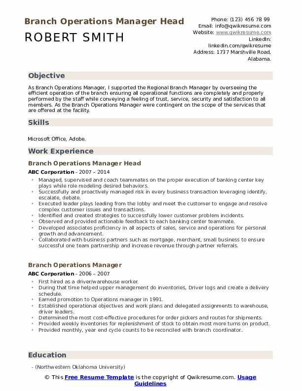 Branch Operations Manager Head Resume Sample