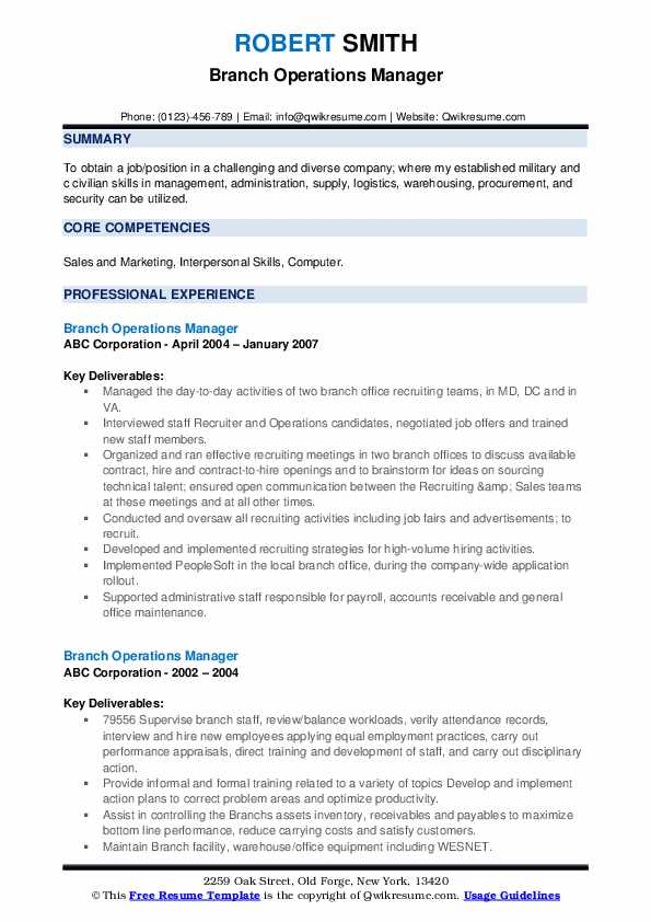 Branch Operations Manager Resume Samples Qwikresume