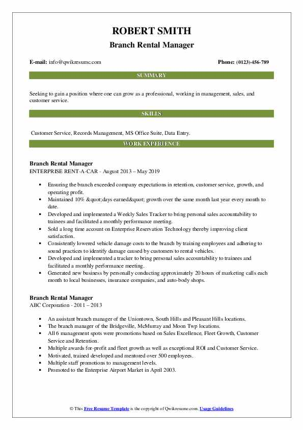 Branch Rental Manager Resume example