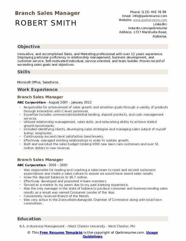 Branch Sales Manager Resume Sample