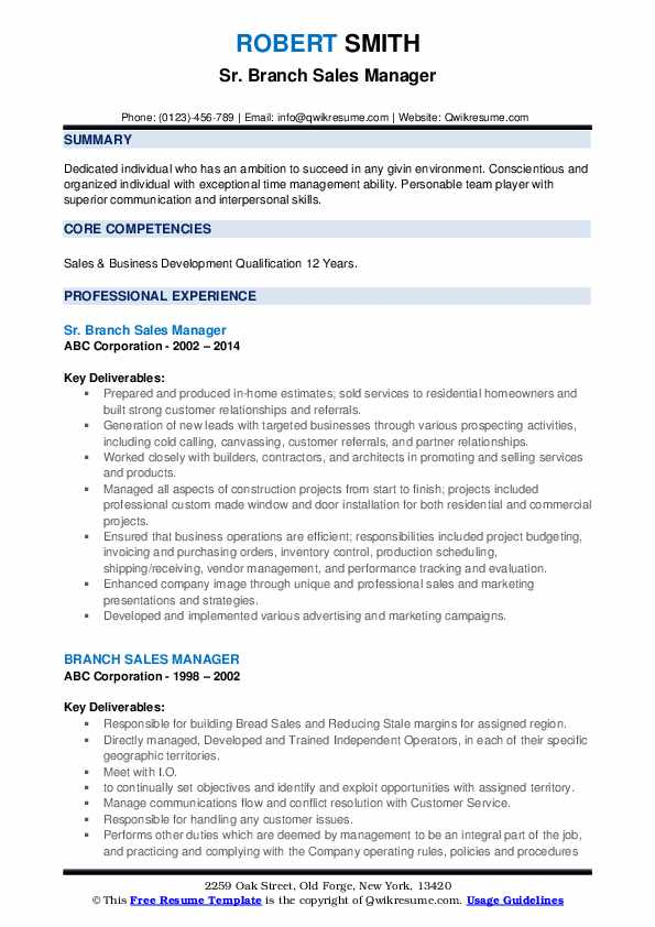 Sr. Branch Sales Manager Resume Example