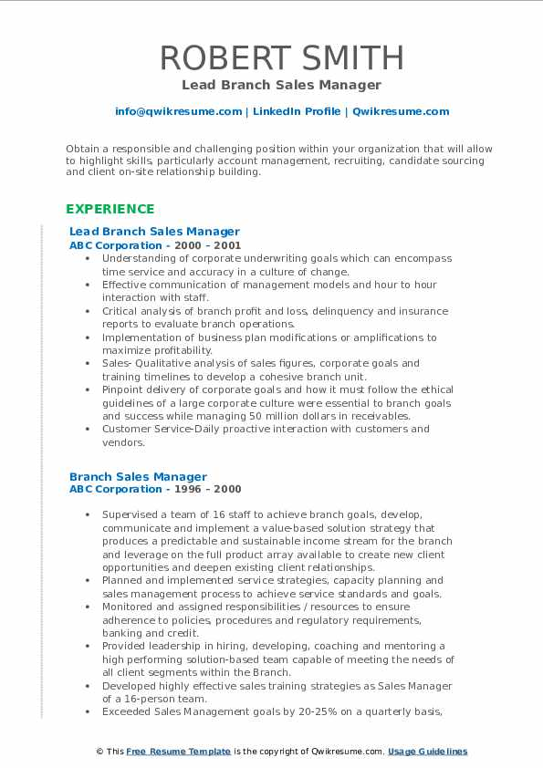 Lead Branch Sales Manager Resume Example