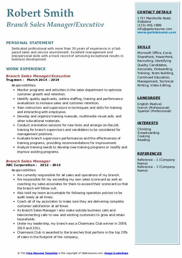 Branch Sales Manager/Executive Resume Format