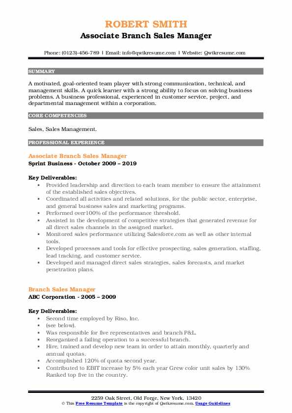 Associate Branch Sales Manager Resume Example