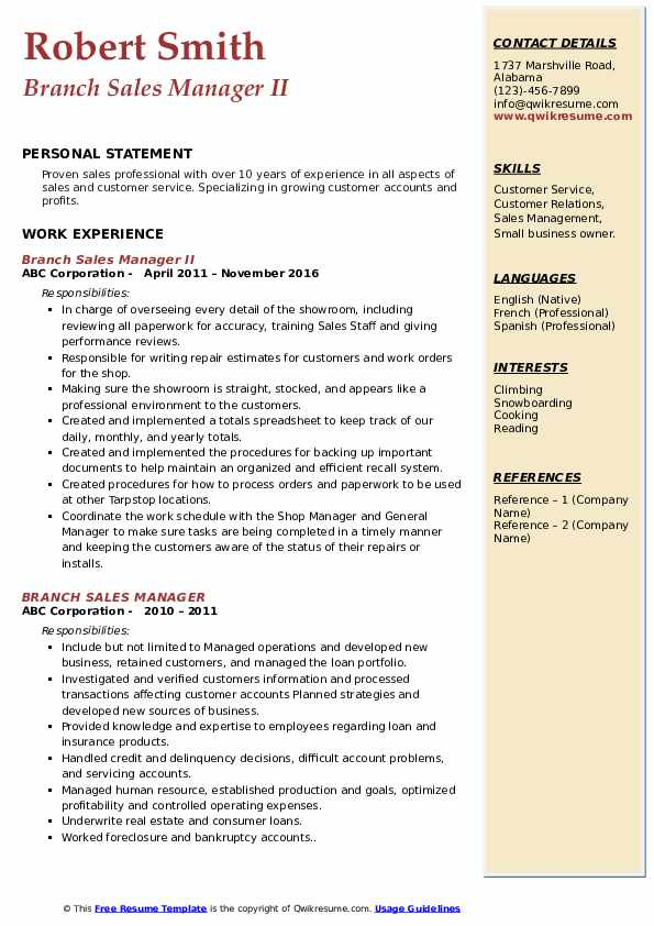 Branch Sales Manager II Resume Example