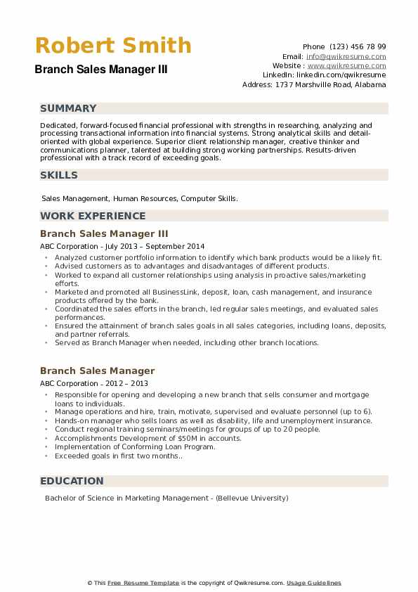 Branch Sales Manager III Resume Sample