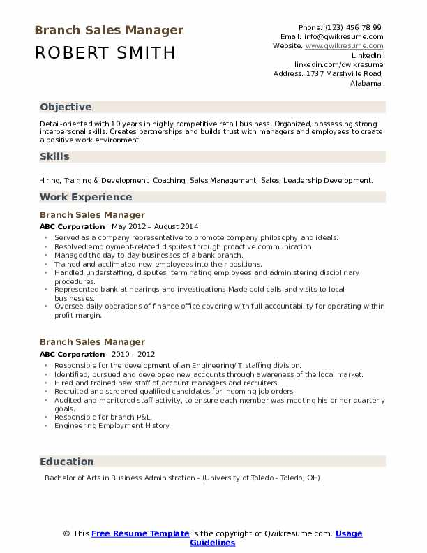 Branch Sales Manager Resume example