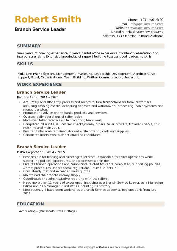 Branch Service Leader Resume example