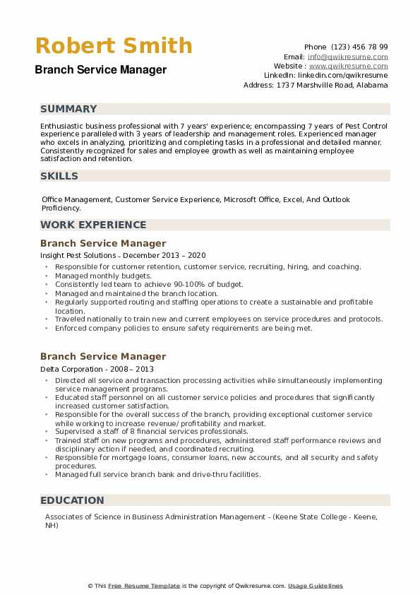Branch Service Manager Resume example