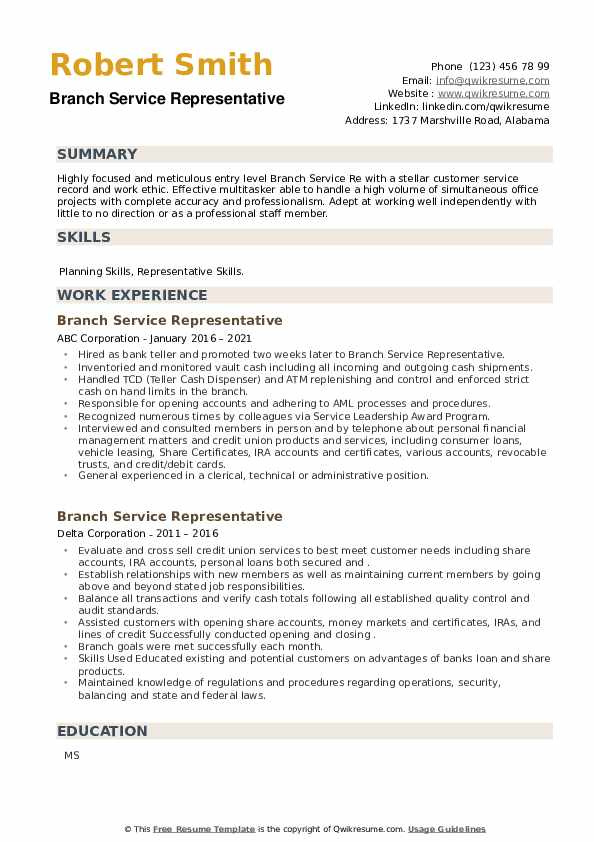 Branch Service Representative Resume example