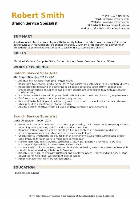 Branch Service Specialist Resume example