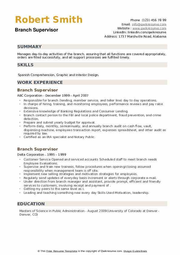 Branch Supervisor Resume example