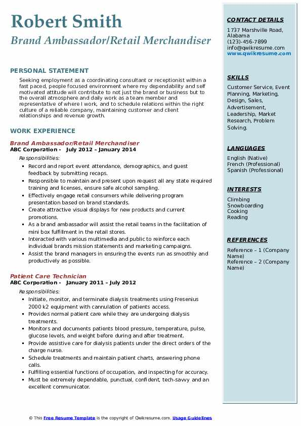 Brand Ambassador/Retail Merchandiser Resume Sample