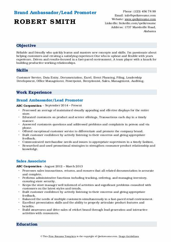 Brand Ambassador/Lead Promoter Resume Example
