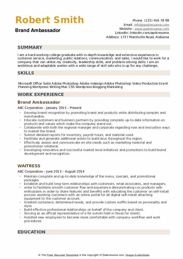 brand ambassador resume samples qwikresume