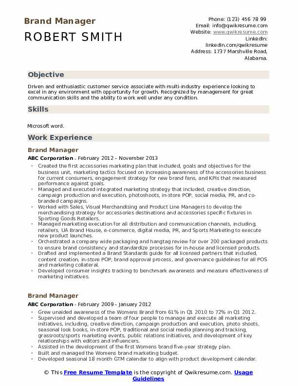 Brand Manager Resume Sample