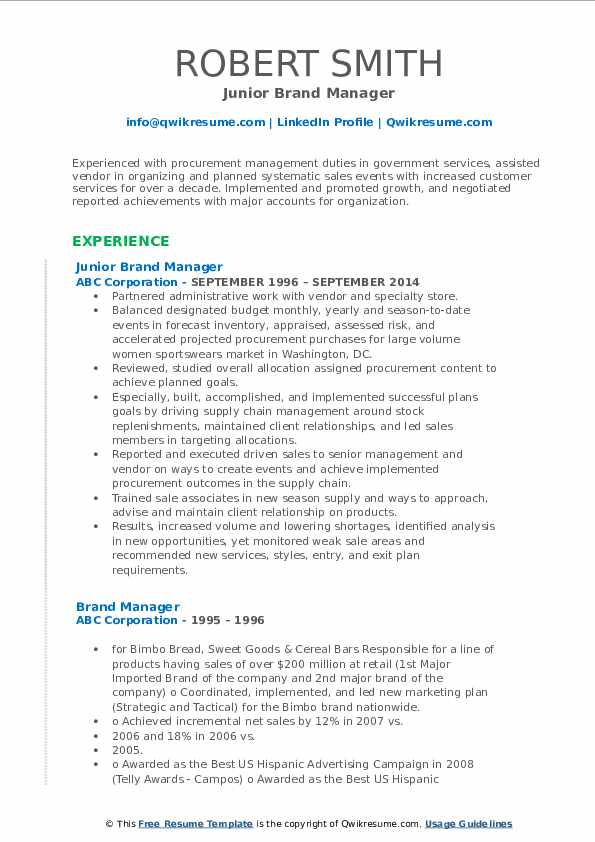 Junior Brand Manager Resume Format