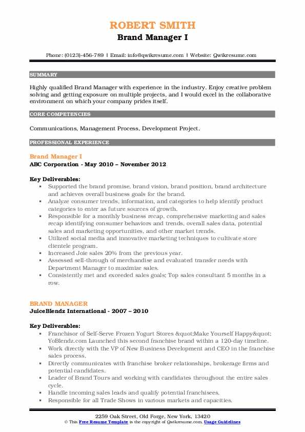 Brand Manager I Resume Template